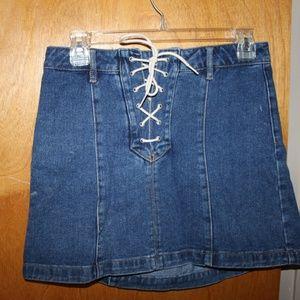 Kendall & Kylie Denim mini skirt  lace up